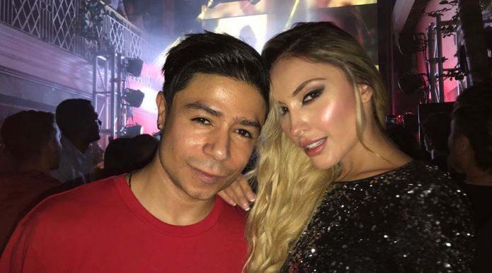Daniel Calderón y novia